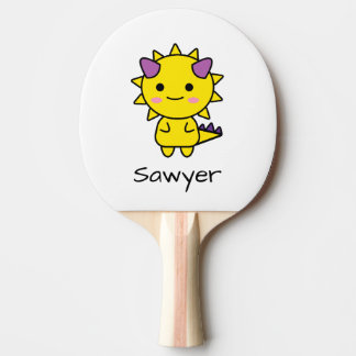 Personalized Yellow Dinosaur Kawaii Cartoon Ping Pong Paddle