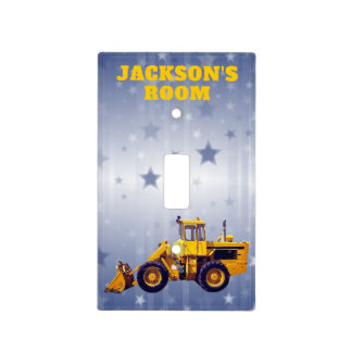Personalized Yellow Earth Mover Tractor Light Switch Cover