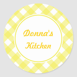 Personalized Yellow Gingham Stickers
