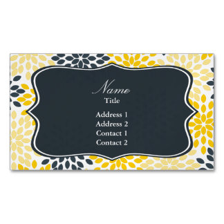 Personalized Yellow, Gray Charcoal Modern Floral Magnetic Business Card