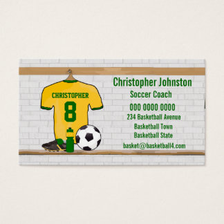 Personalized Yellow Green Football Soccer Jersey Business Card