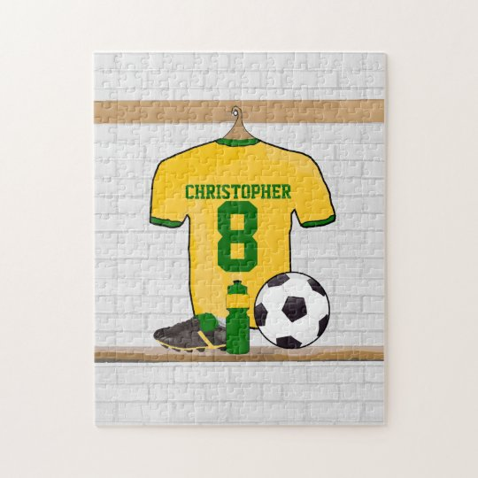Personalized Yellow Green Football Soccer Jersey Jigsaw Puzzle