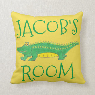 Personalized Yellow Green Gator Alligator Croc Throw Pillow