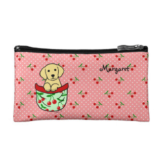 Personalized Yellow Lab Puppy in the Pocket Makeup Bag