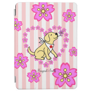 Personalized Yellow Labrador and Cherry Blossoms iPad Air Cover