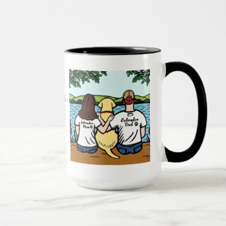 Personalized Yellow Labrador and Mom and Dad Long Mug