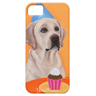 Personalized Yellow Labrador Birthday Cupcake iPhone 5 Cases