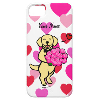 Personalized Yellow Labrador Cartoon Roses iPhone 5 Cases