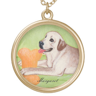 Personalized Yellow Labrador on the Green Couch Gold Plated Necklace