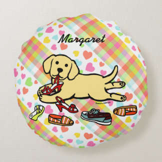 Personalized Yellow Labrador Puppy Cartoon Round Pillow
