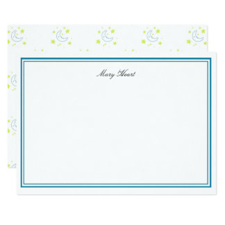 Personalized Yellow Moon & Stars Stationary Card