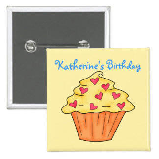 Personalized Yellow & Orange Cupcake Birthday Buttons