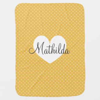 Personalized yellow polkadots pattern baby blanket