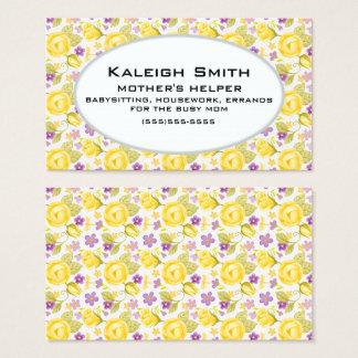 Personalized Yellow Purple Floral  Mother's Helper Business Card