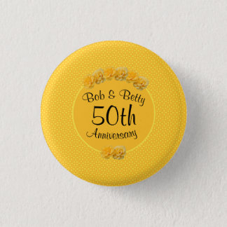 Personalized Yellow Rose 50th Anniversary 1 Inch Round Button