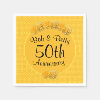 Personalized Yellow Rose 50th Anniversary Disposable Napkin