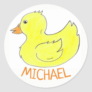 Personalized Yellow Rubber Duck Duckie Bathtub Toy Classic Round Sticker