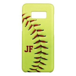 Personalized yellow softball ball Case-Mate samsung galaxy s8 case