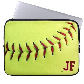 Personalized yellow softball ball laptop sleeve