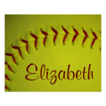 Personalized Yellow Softball Poster