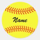Personalized yellow softball stickers