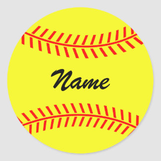 Personalized yellow softball stickers