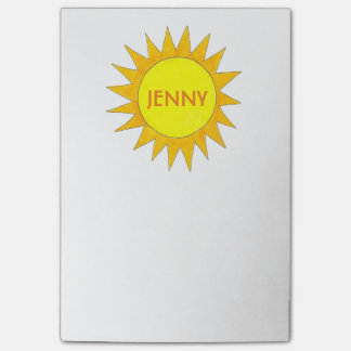 Personalized Yellow Sun Sunshine Sunny Day Post It Post-it® Notes