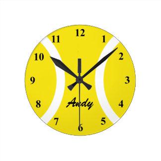 Personalized yellow tennis ball wall clock