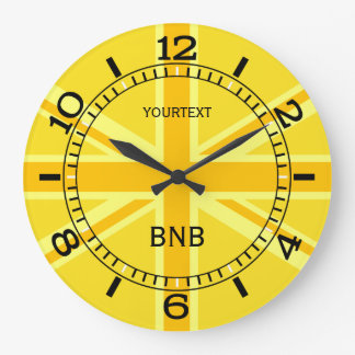 Personalized Yellow Union Jack British Flag Dial Large Clock