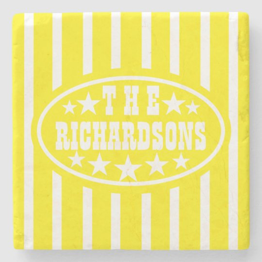 Personalized Yellow Vintage Carnival Stone Beverage Coaster
