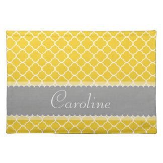 Personalized Yellow White Gray Quatrefoil Pattern Placemat