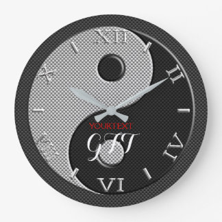 Personalized Yin Yang in Charcoal Carbon Fiber on Large Clock