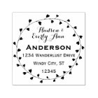 Personalized Your Name and Address Heart Wreath Self-inking Stamp