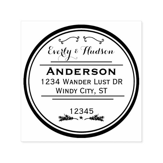 Personalized Your Name and Address Wreath Self-inking Stamp