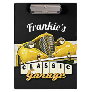 Personalized | Your Name | Classic Car Garage Clipboard