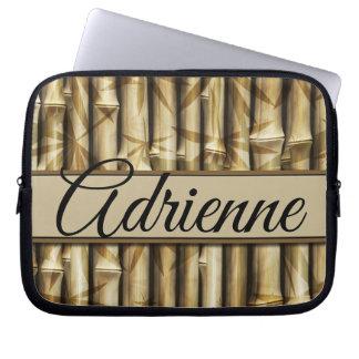 Personalized | Your Name | Elegant Bamboo Wood Laptop Sleeve