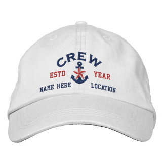 Personalized Your Name Year Crew Star Anchor Embroidered Hat