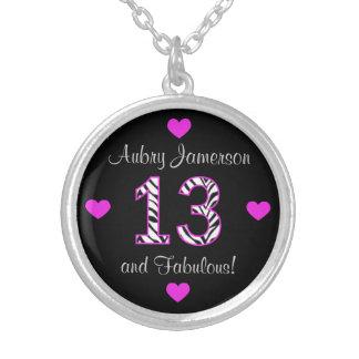Personalized Zebra: 13th Birthday Necklace