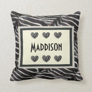 Personalized Zebra Print,  add any name Throw Pillow