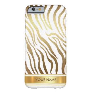Personalized Zebra Safari Skin White Gold Glam Barely There iPhone 6 Case
