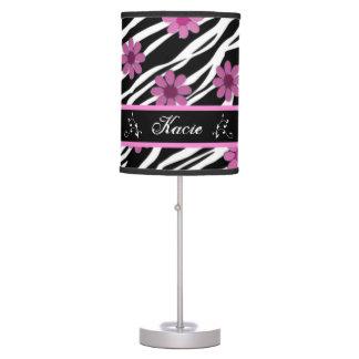 Personalized Zebra Striped Flower Lamp Shade