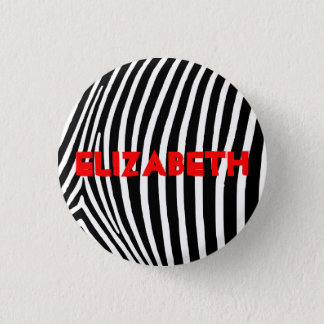 Personalized Zebra Stripes 1 Inch Round Button