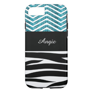 Personalized Zebra Stripes and Turquoise Glitter iPhone 7 Case