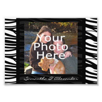 Personalized Zebra Stripes Black Photo Border