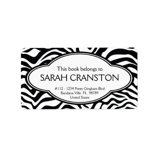 Personalized Zebra Stripes Pattern Bookplate