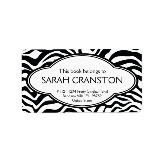 Personalized Zebra Stripes Pattern Bookplate Label