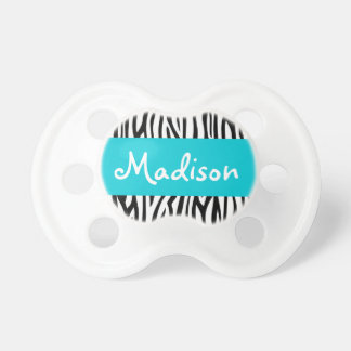 Personalized Zebra Teal Blue Pacifier