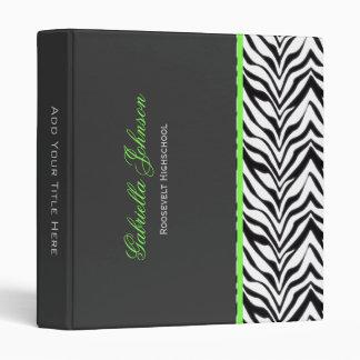 Personalized Zebra Trimmed Binder
