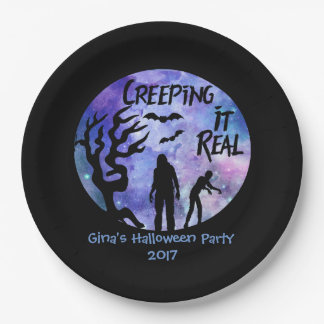 Personalized Zombie Creeping It Real Paper Plate