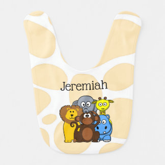 Personalized Zoo or Jungle Animals Baby Bib